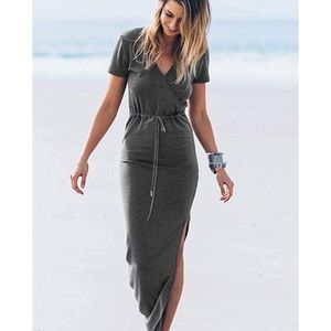 Women's Short Sleeve  v neck  Maxi Dress